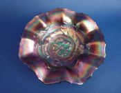Dugan Amethyst Carnival Glass 'Apple Blossoms' Ruffled Bowl